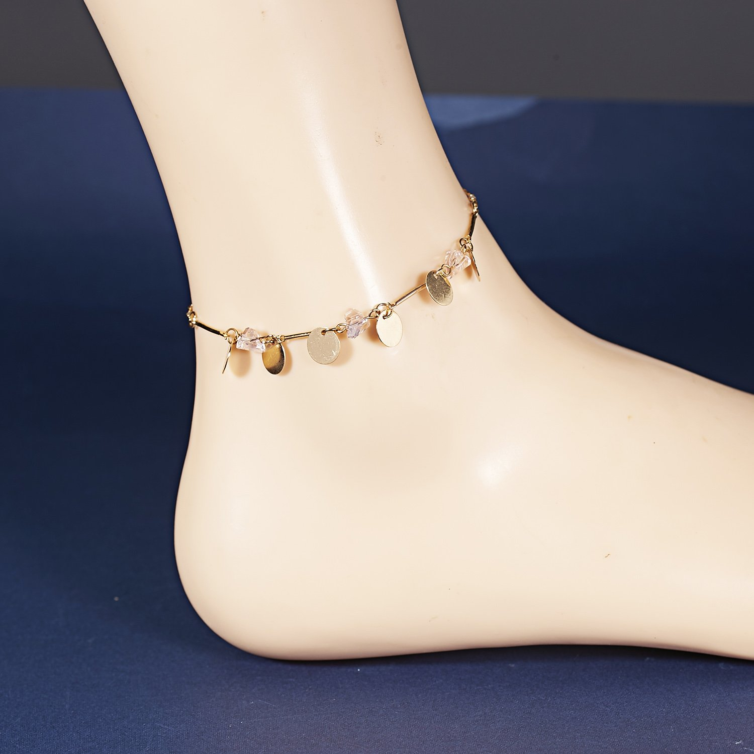 FANSING Handmade Gold Anklet Bracelet Pink Crystal Surfer Beach Foot Jewelry with Extender