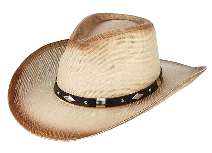 Gemvie Western Wide Brim Toyo Straw Cowboy Hat with Band Decor at Amazon  Women s Clothing store  038d704efe5d