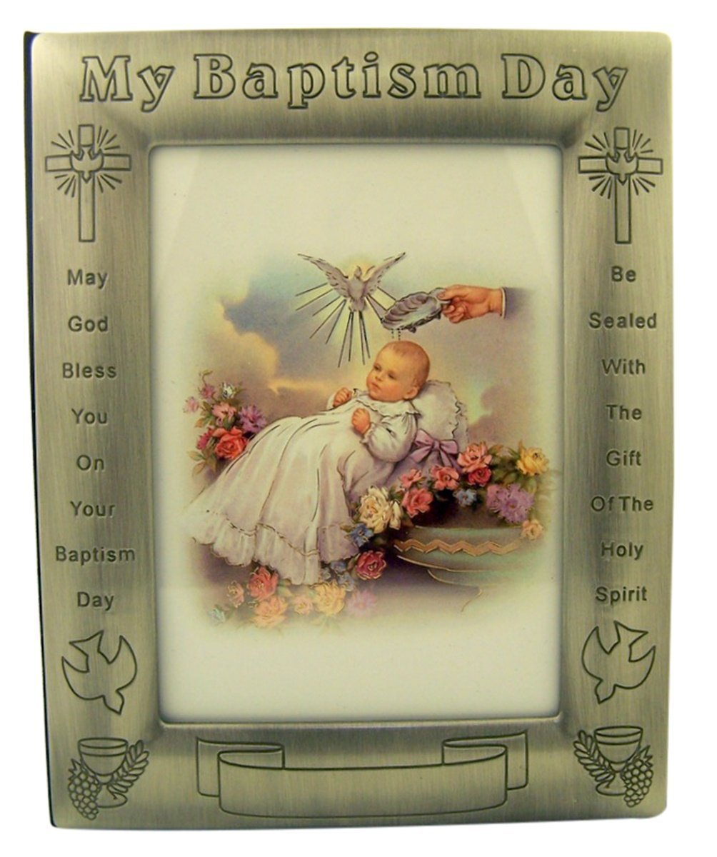 Pewter My Baptism Day Photo Album Picture Frame with Certificate, 6 3/4 Inch WJ Hirten