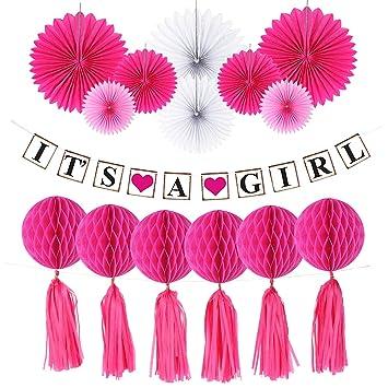 """Hivexagon Decoración Set para Celebrar Nacimiento de Niñas, """"Its A Girl"""" (Es niña) Banderola de Coloridos Abanicos de Papel, Bolas con Forma de ..."""