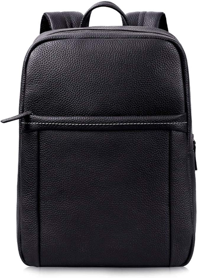 Large-capacity leather fashion shoulder mens business computer travel leisure backpack