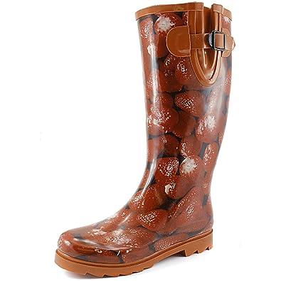 Amazon.com | Women's Puddles Rain and Snow Boot Multi Color Mid ...