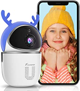 Christmas Baby Monitor Camera and Webcam, FOXNOVO 1080P WiFi Camera for Home Security Two Way Talk, Human&Motion Detection, Night Vision, Pet Camera Indoor Camera for Dog/Nanny/Elder, SD/Cloud Storage