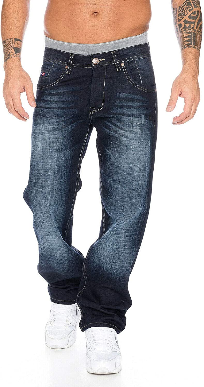 Rock Creek RC-2091 - Pantalones vaqueros rectos para hombre, color azul azul 42W x 40L