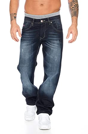Rock Creek Hombre – Pantalones Vaqueros Denim Azul Straight Cut Pierna Recta Pieza de Repuesto para -2091 Azul 44W x 32L
