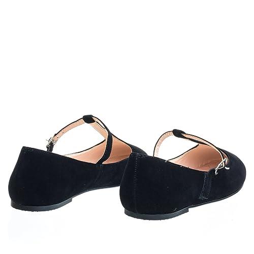 35fe6897e Amazon.com   City Classified Ballet T-Strap Mary-Jane Flats. Women's  Ballerina Round Toe Comfort Flats, Color:BlackD, Size:5.5   Flats