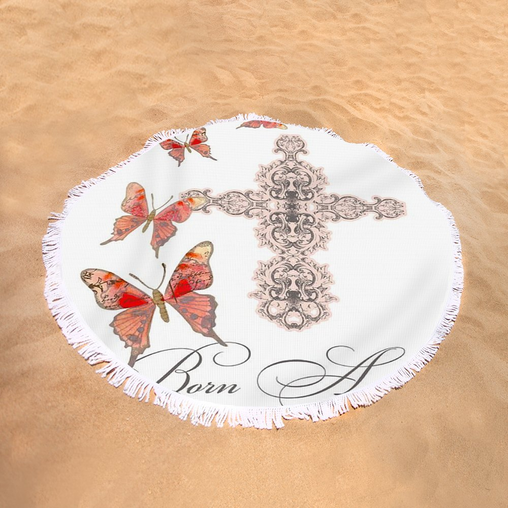Pixels Round Beach Towel With Tassels featuring ''Cross Born Again Christian Inspirational Butterfly Butterflies'' by Audrey Jeanne Roberts by Pixels