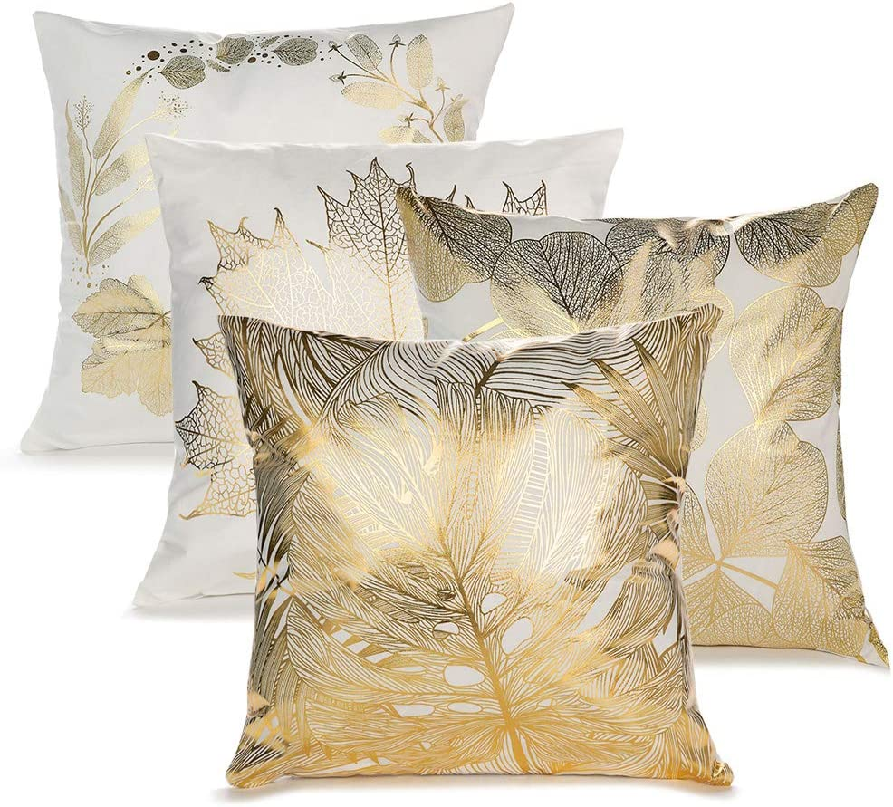 IWILCS 4 PCS Gold Foil Printing Pillow Case, Leaf Pattern Hug Pillowcase, Throw Pillow Cushion Cover for Bed Sofa Living Room, 45 * 45cm