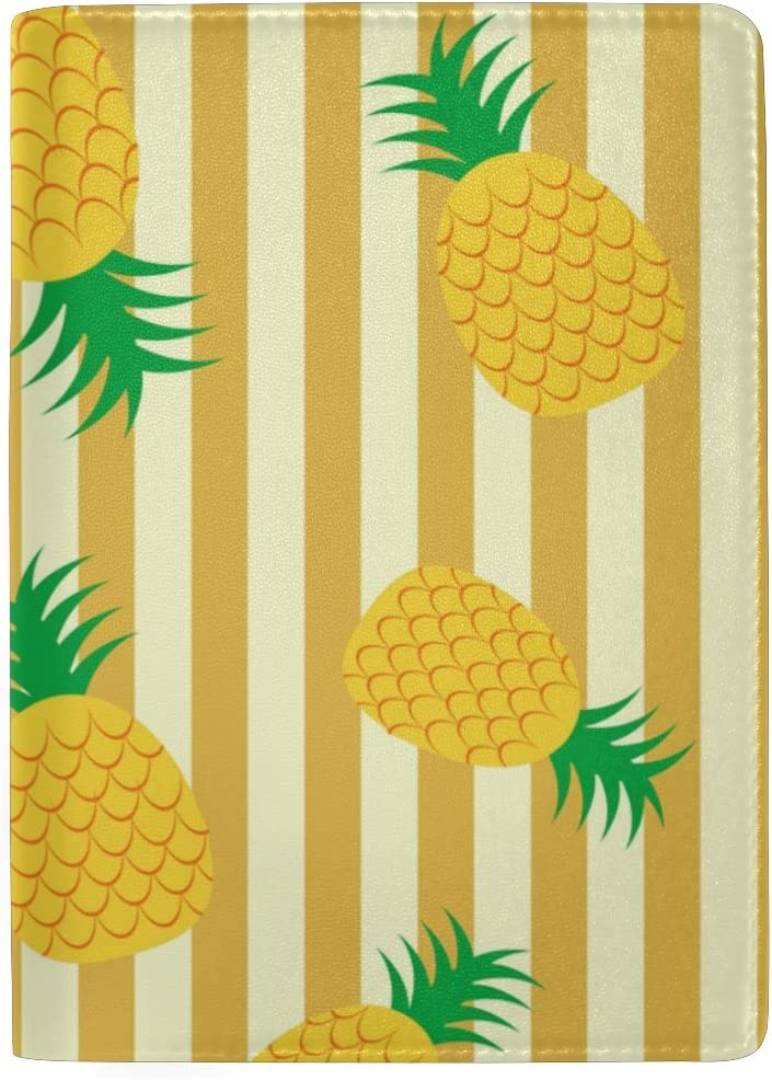 Abstract Pineapple Genuine Leather Passport Holder Wallet Case Cover for Men Women