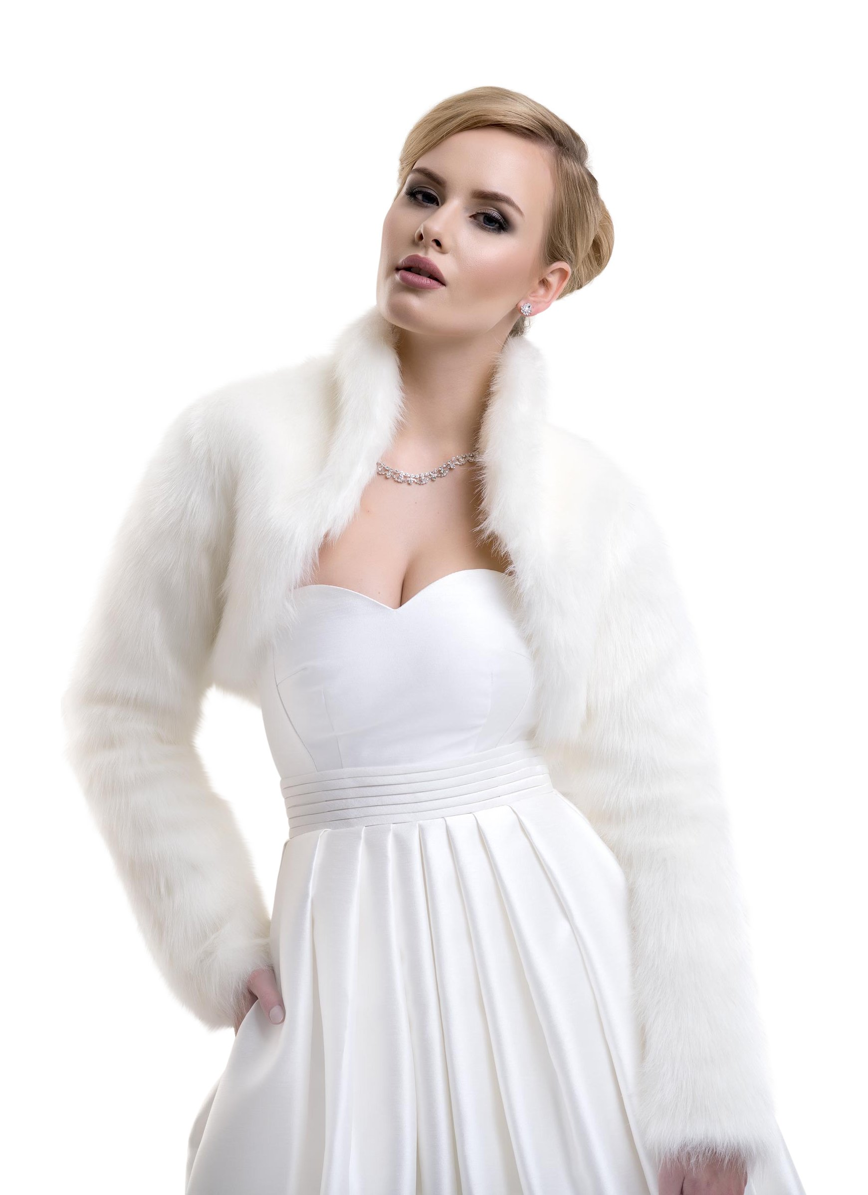 Lacey Bell Ladies Fox Faux Fur Bridal Wedding Jacket Bolero FFJ-61