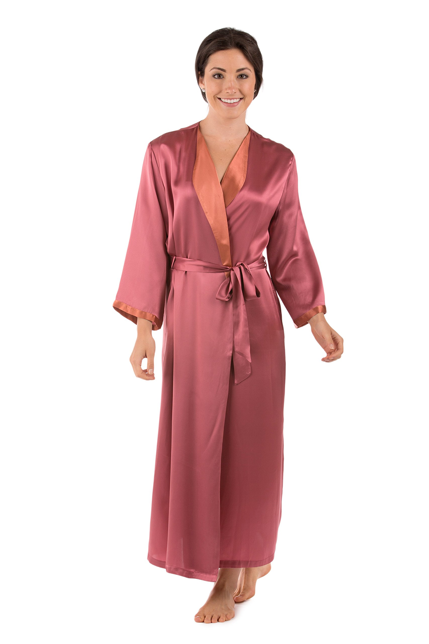 TexereSilk Women's Luxury Long Silk Bathrobe (Mulberry, Small/Medium) Mother's Day Presents for Her WS0102-MUL-SM