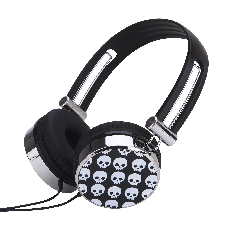 d236cae7088 Amazon.com: RockPapa Over Ear Stereo Wired Skull Headphones Earphones  Adjustable for Kids Childrens Boys Girls Teens Adults (3.5mm Jack) Black:  Home Audio & ...