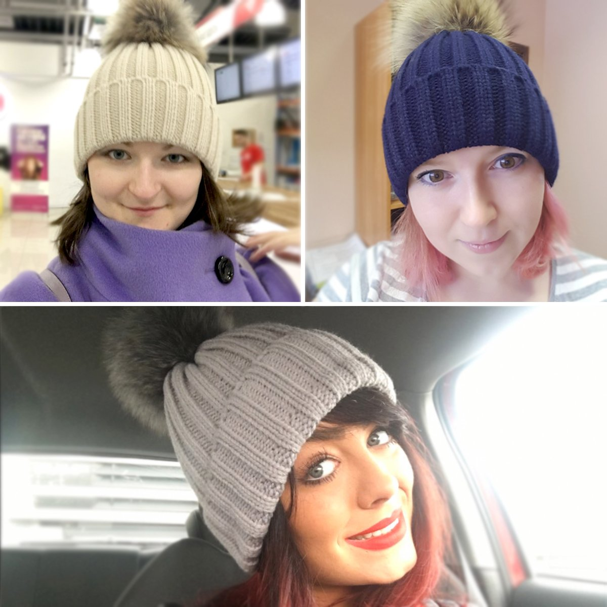 EVRFELAN Winter Hand Faux Fur Hat Pompoms Beanie Cable Knit Warm Family Crochet Ski Skull Cap for Girls (mink dark blue)