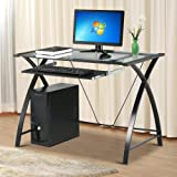 go2buy Tempered Glass Table Top Computer Desk Black