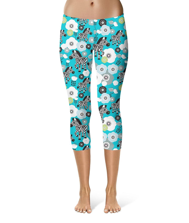 Capri Length Mid//High Waist Zebra Blossoms Sport Leggings