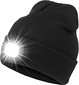 Black Knit Wooly Beanie Hat LED Light Unisex Warm High Powered Head Torch Lamp