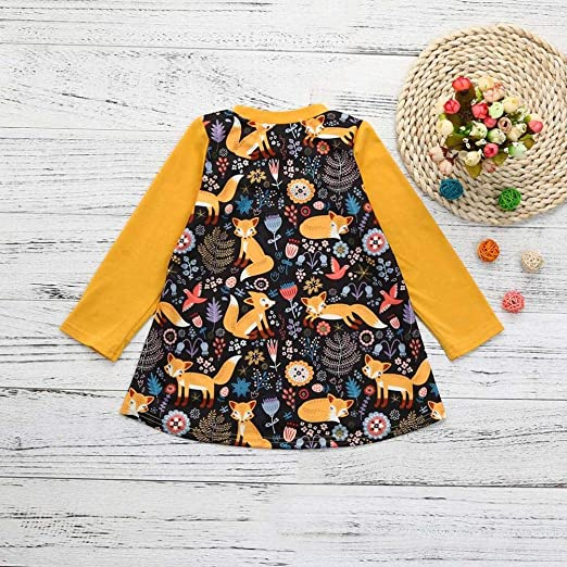 Xinantime Toddler Kids Print Cartoon Fox Sun Dress Clothes Outfits for 0-5Years Old Baby Girls Dress 0-1Y, Yellow