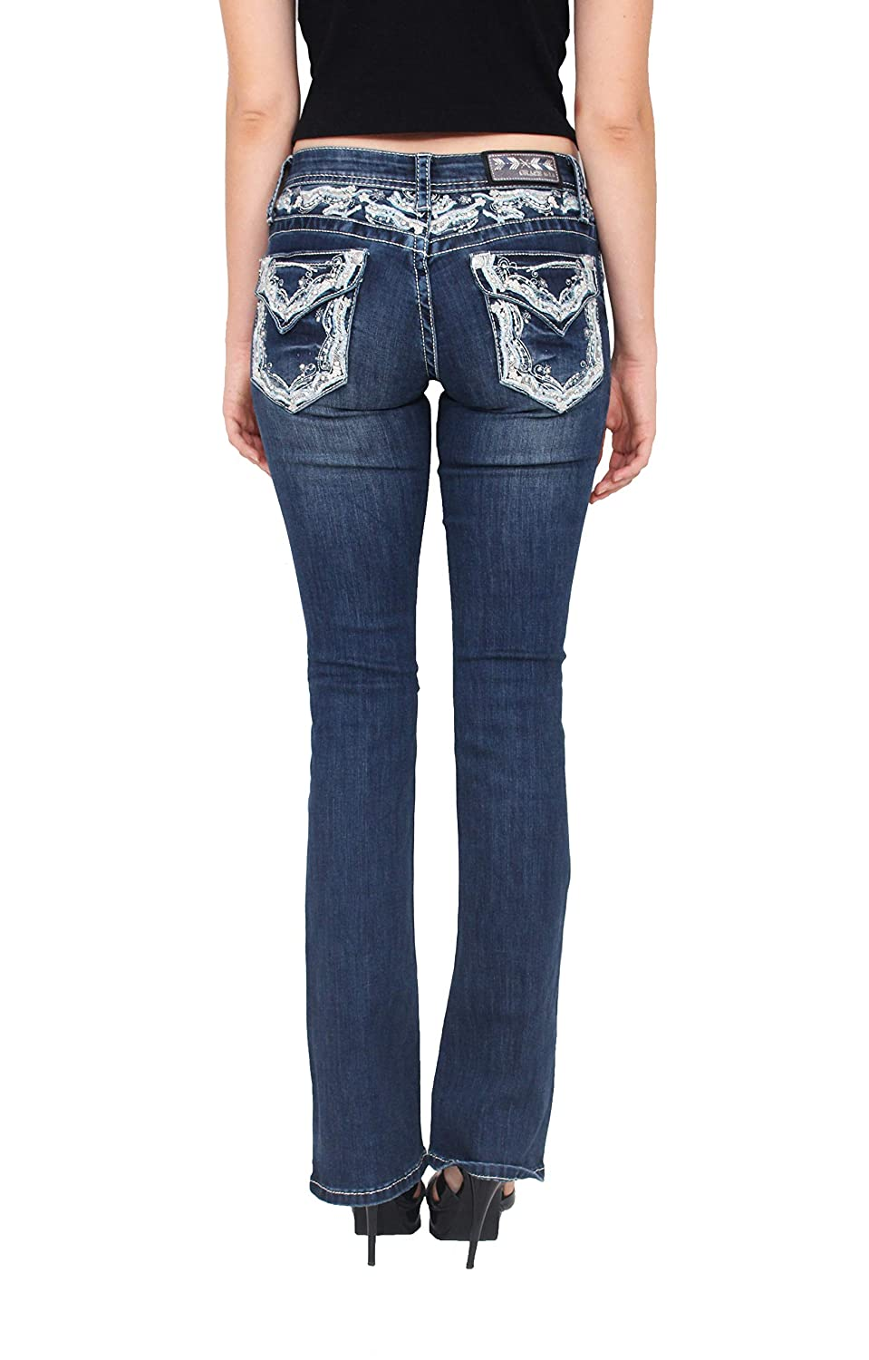 Grace in LA Women Bootcut Jeans with Embellished Detail and Rhinestones