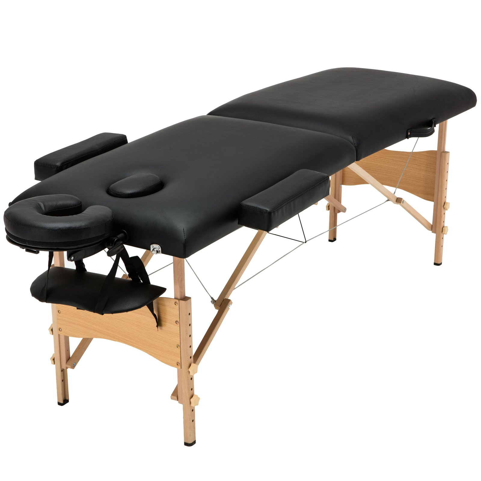 Uenjoy Folding Massage Table 84'' Professional Massage Bed With Free Carrying Bag 2 Fold,Black