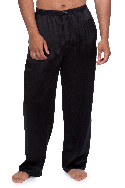 Men's Luxury Silk Pajama Pants (Hiruko, Black, Medium/Tall) Leisure Wear for Him MS0201-BLK-MT