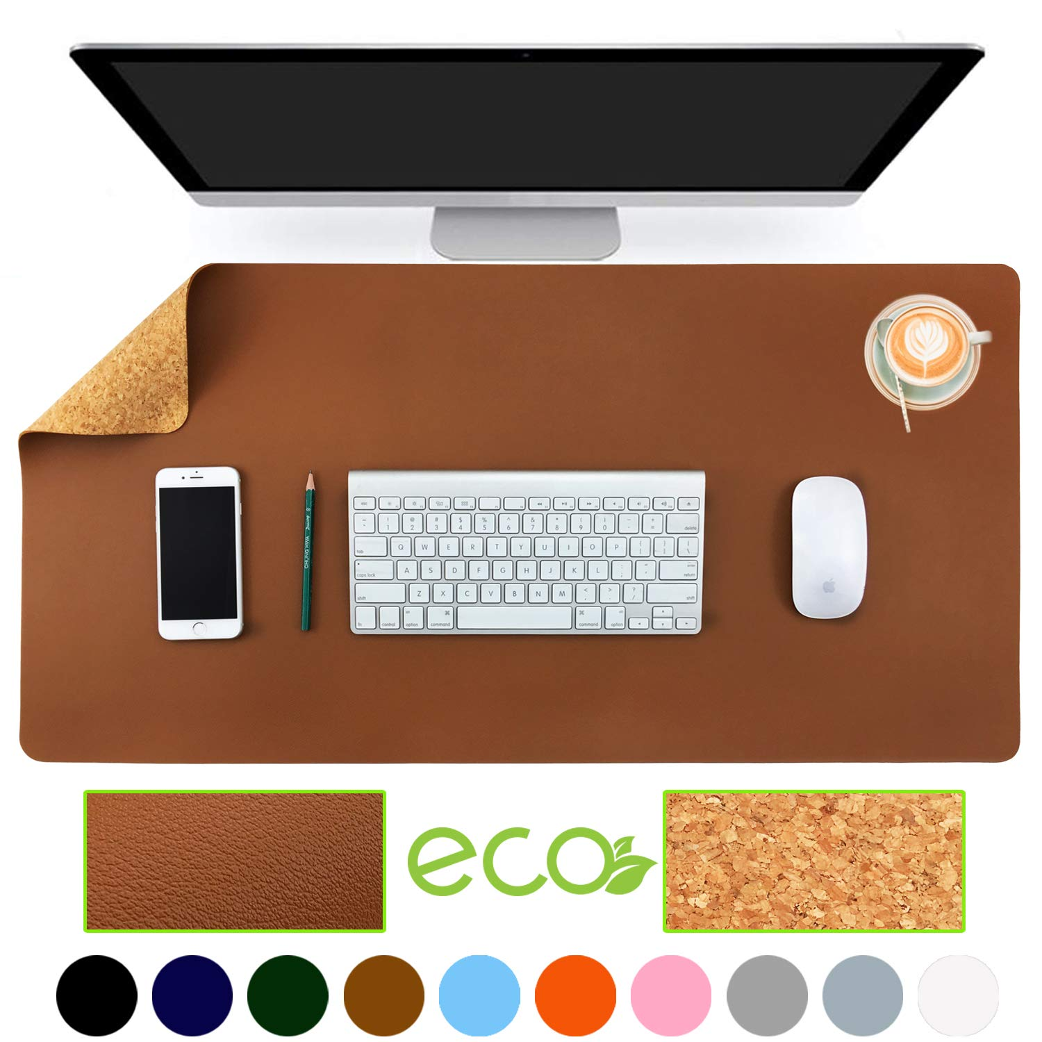 "Aothia Eco-Friendly Natural Cork & Leather Double-Sided Office Desk Mat 31.5"" x 15.7"" Mouse Pad Smooth Surface Soft Easy Clean Waterproof PU Leather Desk Protector for Office/Home Gaming (Brown)"