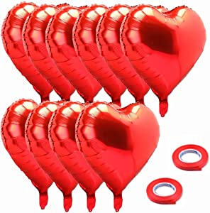 18 Inch Red Mylar Heart Balloons Foil Balloons For Valentines Day Wedding Engagement Party Decor, 10 Pc