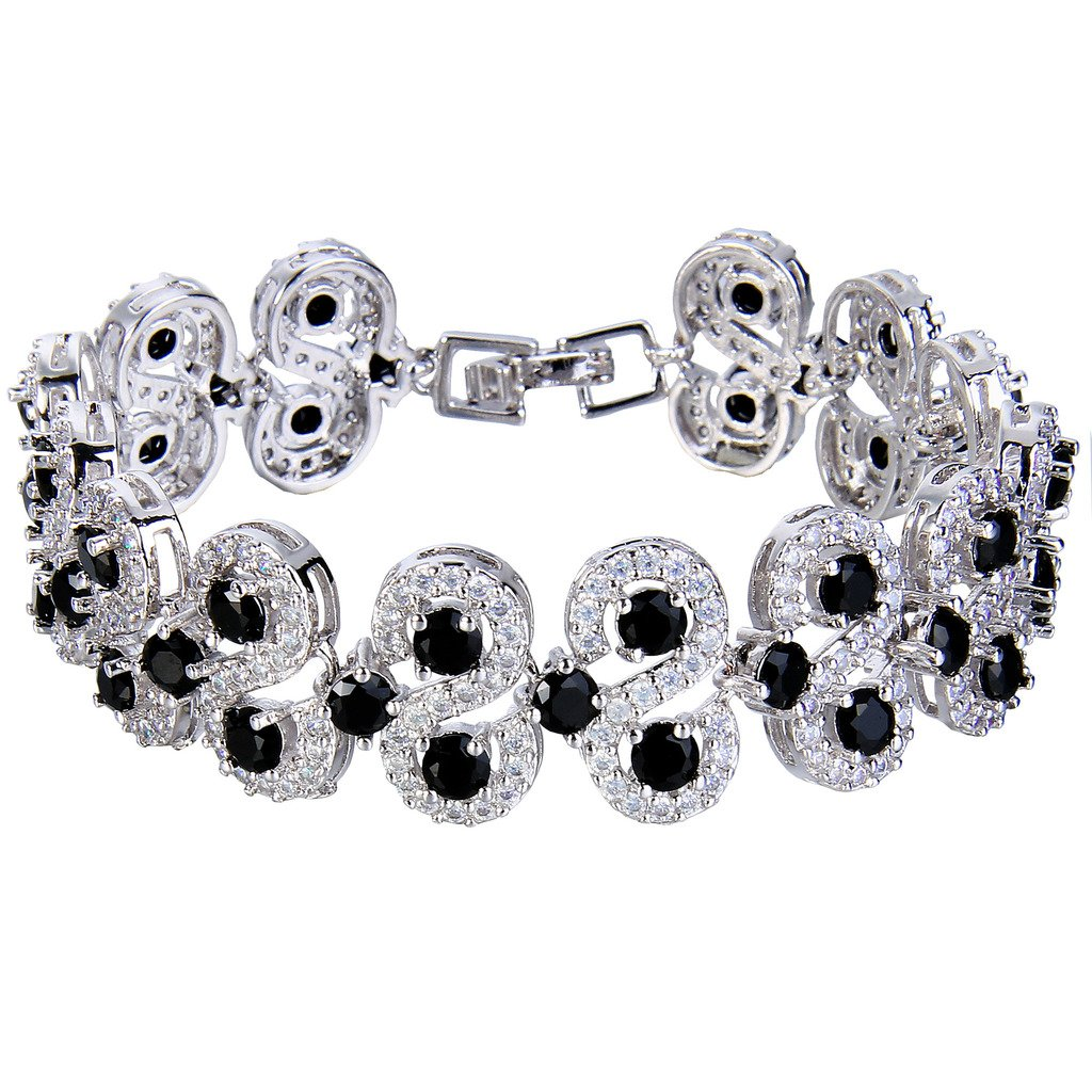 EVER FAITH Silver-Tone CZ December Birthstone Vinstage Style Art Deco Roman Tennis Bracelet Black