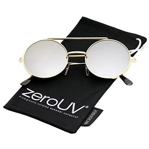 e62dd2bd4dc Mid Size Flip-Up Colored Mirror Lens Round Django Sunglasses 49mm  (Gold Silver