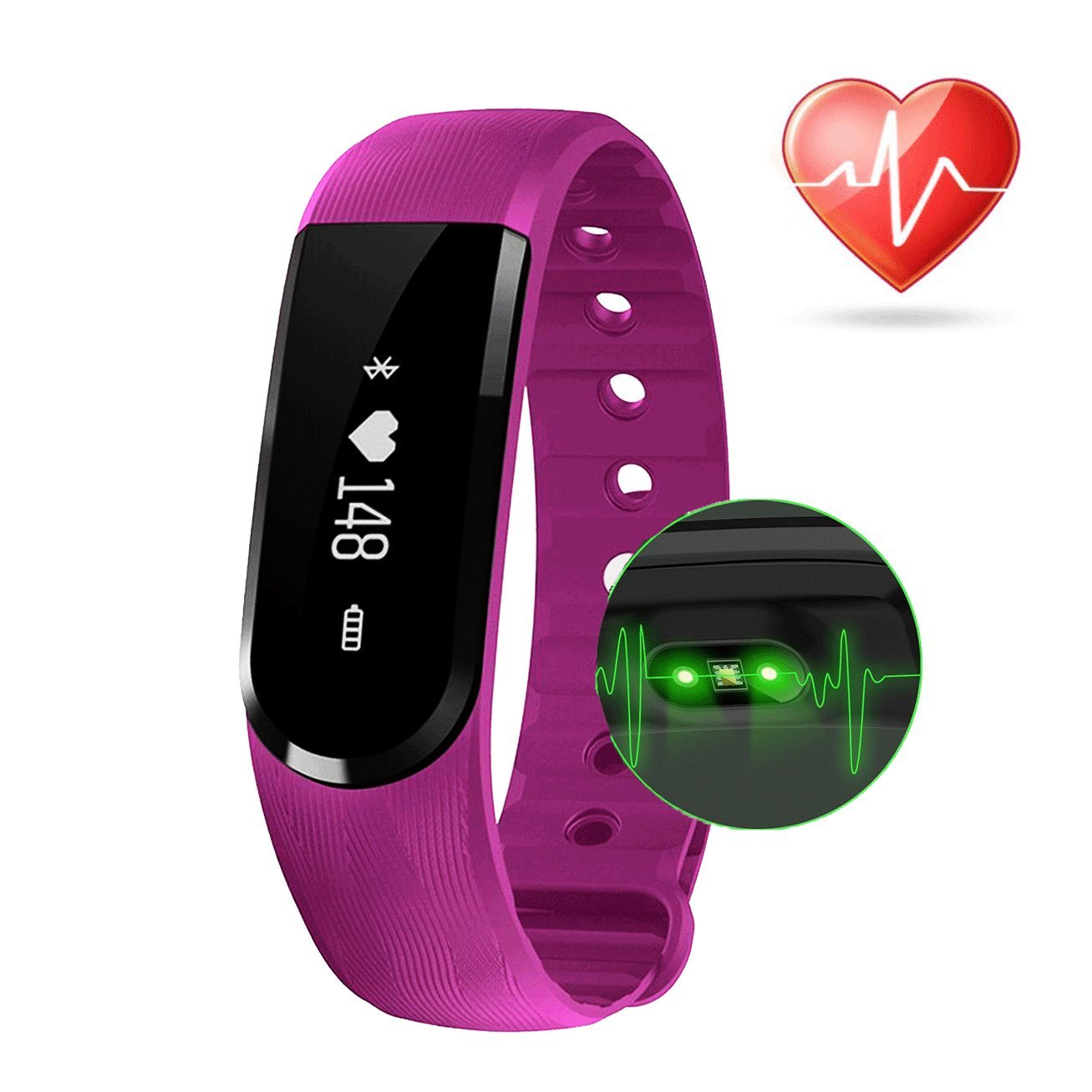 Fitness Tracker Heart Rate - COOLEAD ID101HR Waterproof Bluetooth Sleep Monitor Music Control,Activity Health Tracker,Pedometer Step Counter,Smart Bracelet Wristband for Android/IOS Phone(Purple)