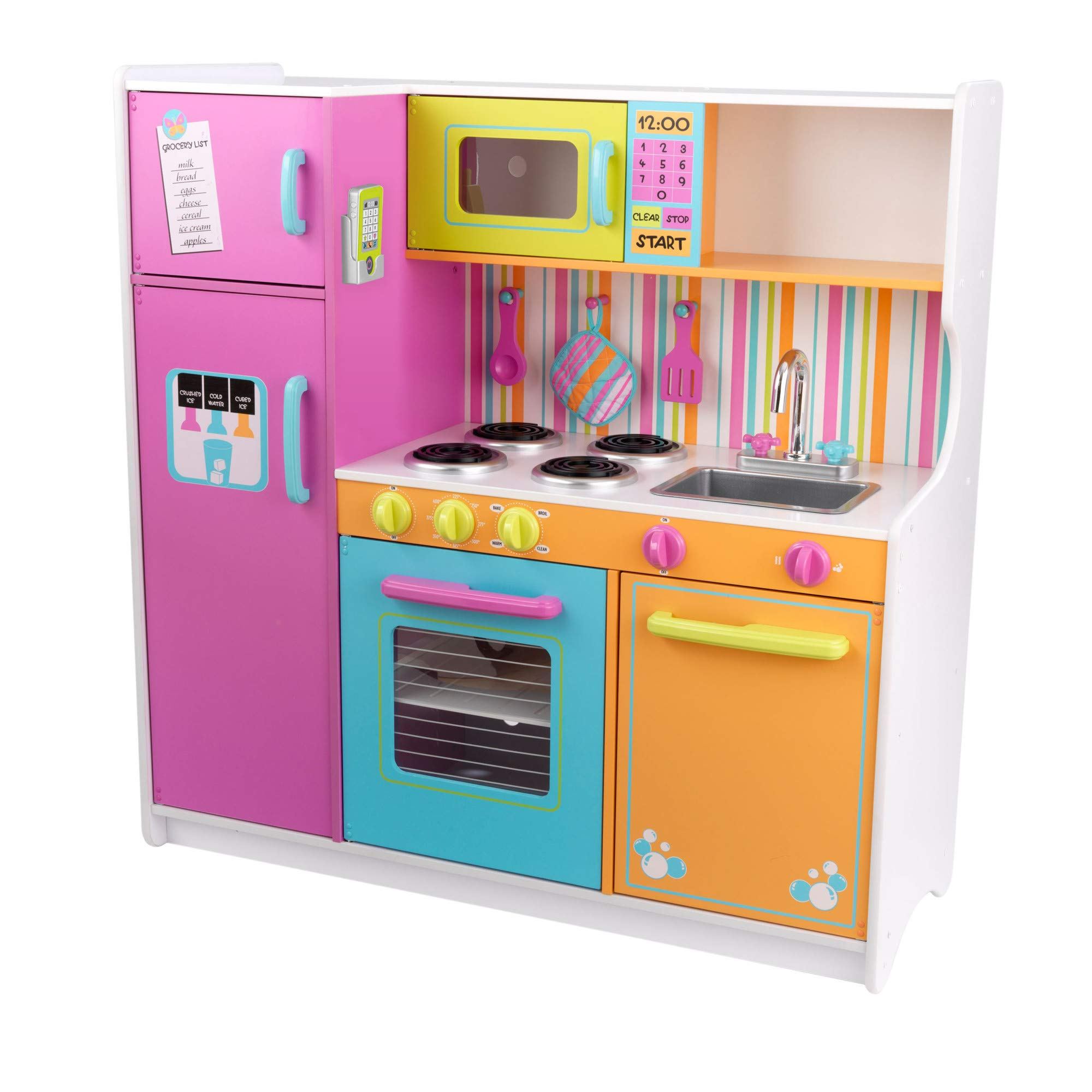 KidKraft Deluxe Big and Bright Wooden Play Kitchen with Play Phone, Click & Turn Knobs and Neon Colors ,Gift for Ages 3+