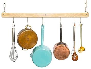 JackCubeDesign cocina el estante para pote de madera estándar montado en el techo, artículos para el hogar de barra ...