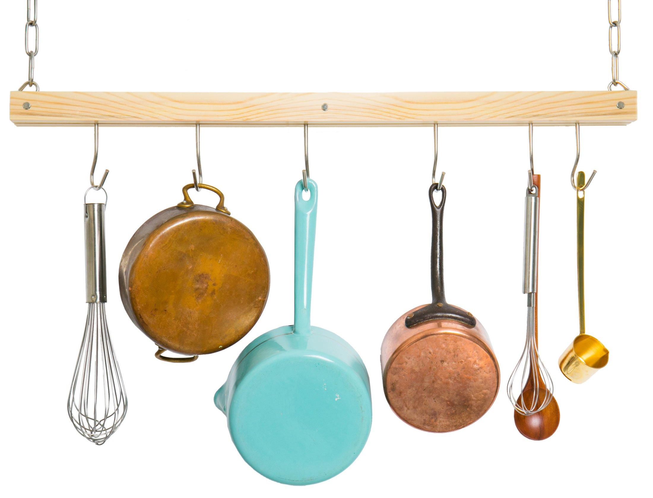 JackCubeDesign Ceiling Wood Pot Rack Hanging Pan Organizer Hanger Kitchen Storage Single Bar Utensil Houseware Holder with 6 Hooks(30-Inch) – MK396A