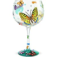 Enesco Designs by Lolita Butterflies Copa de Balon Gin Cocktail Glass, 24 Ounce, Multicolor