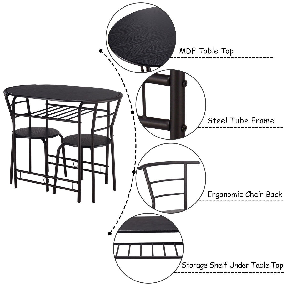 Giantex 3 PCS Dining Table Set w/1 Table and 2 Chairs Home Restaurant Breakfast Bistro Pub Kitchen Dining Room Furniture (Black) by Giantex (Image #4)