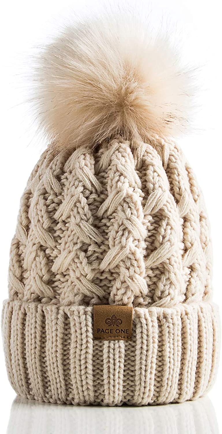beanie Lilac Knit winter Hat Knit Cable beanie Pom Pom knit hat READY TO SHIP-Cable beanie with Fur Pom Pom in Light Purple