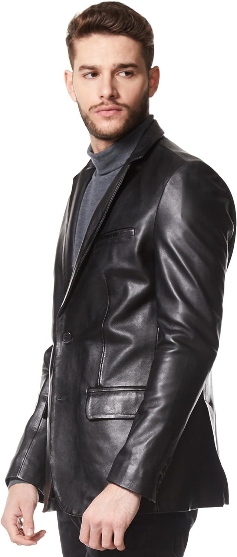 Smart Range Classic Mens Real Leather Jacket Blazer Black Tailored Soft Napa Coat Z-120