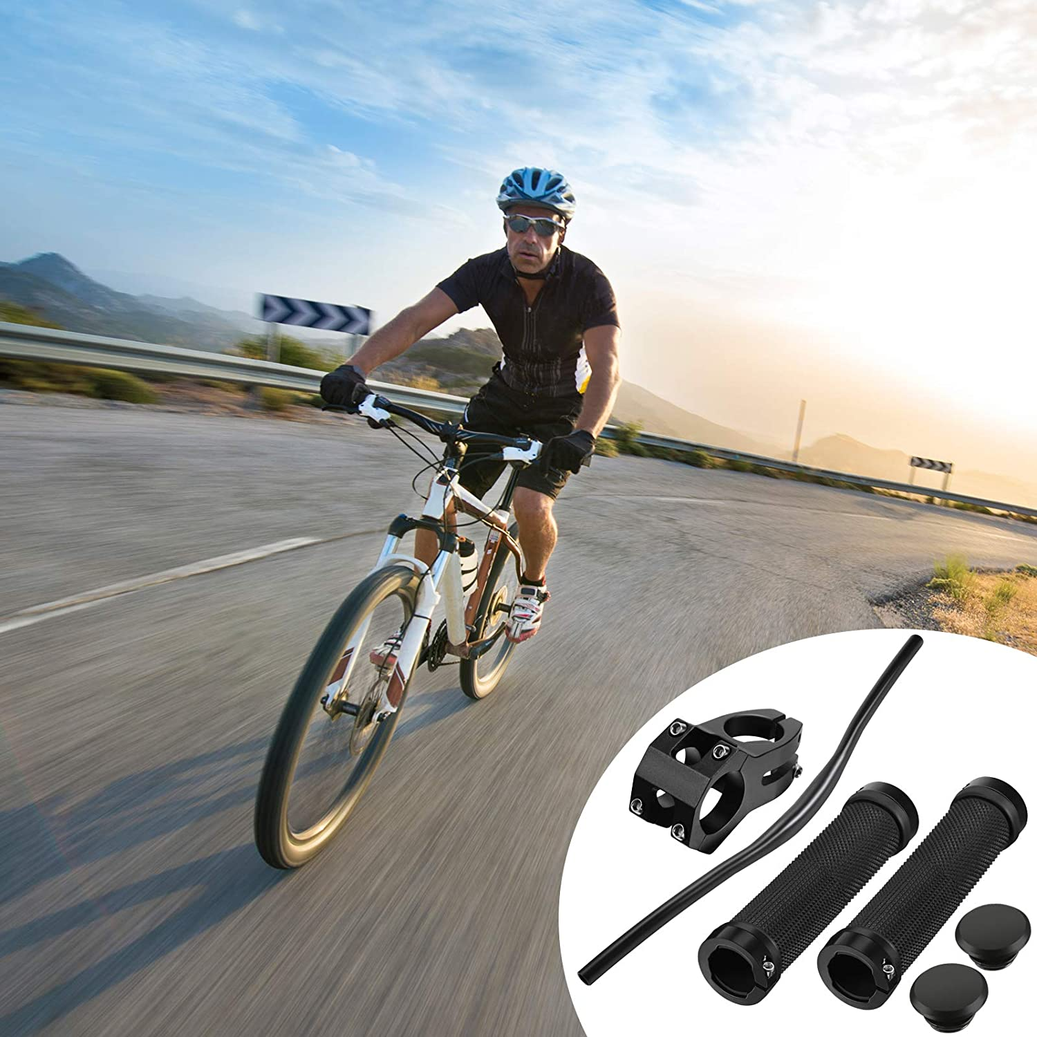 720 mm Aluminum Alloy Mountain Bike Handlebar with 31.8 Stem Mountain Bike Stem Short MTB Stem and Bike Handlebar Grips for Most Bicycles