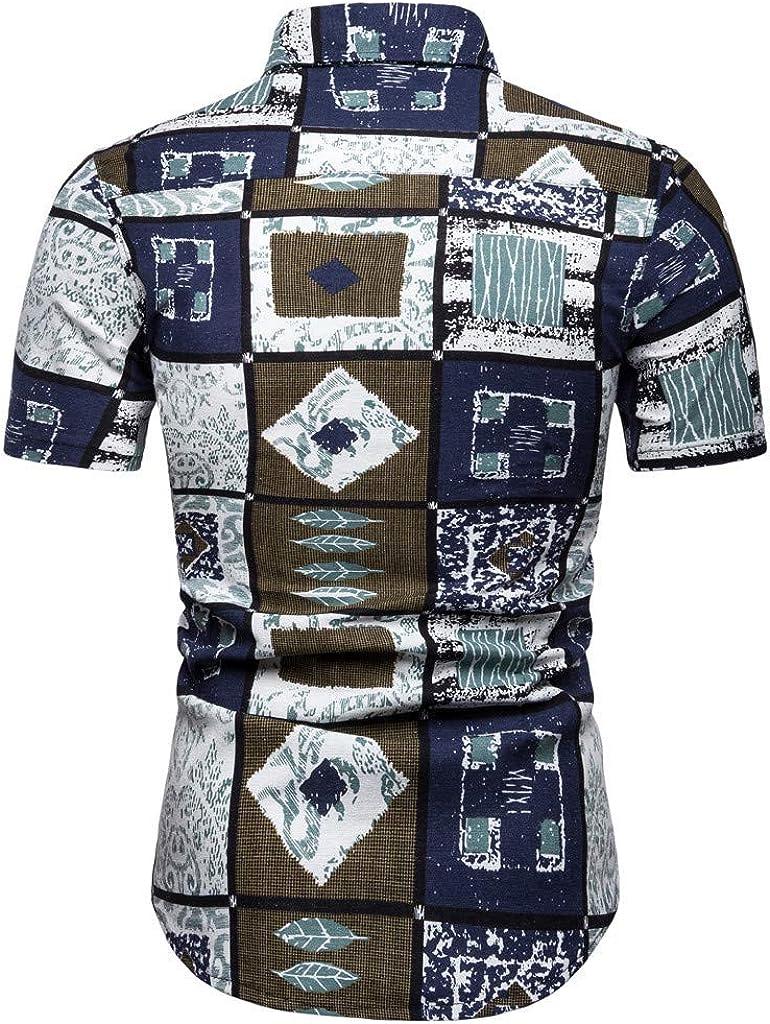 Huifa Mens Newest Casual Fashion Printing Blouse Tops Lapel Short Sleeve Shirt