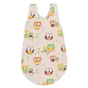 Sevira Kids - Gigoteuse pour toute l'année 74 cm 0-12 mois en coton certifié - Collection Hiboux - différent coloris