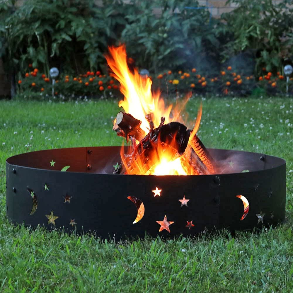 Large Outdoor Campfire Ring Heavy-Duty 0.6mm Thick Steel Metal Rim for Patio /& Backyard Use 36 Inch Wood Burning Firepit Sunnydaze Big Sky Fire Pit