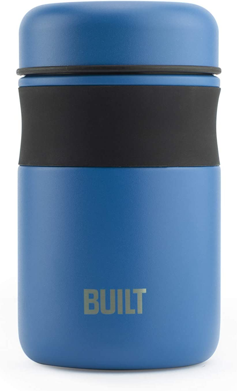 BUILT Double Wall Stainless Steel Vacuum Insulated Reusable Food Storage Jar, 16-Ounce, Imperial Blue