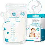 GLAND Breastmilk Storage Bags Easy Pour Spout 100 Count, Pre-Sterilized BPA Free Ready to Use Double Zipper Seal Bags for Pumping Freezing and Feeding milk Self-Standing Flat Profile Space Saving 8 oz