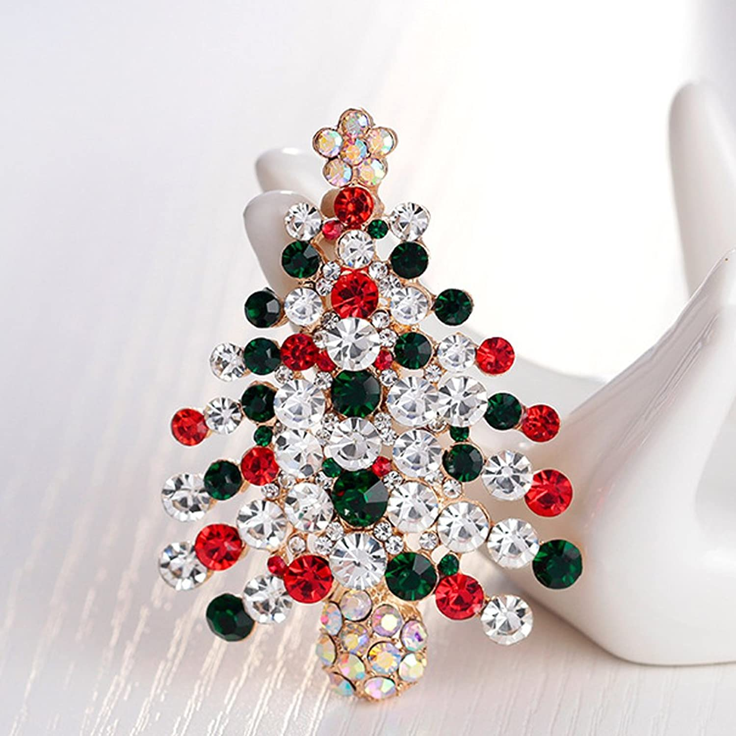Amazon.com: Womens Pin Broaches Christmas Tree Design with Red Green ...