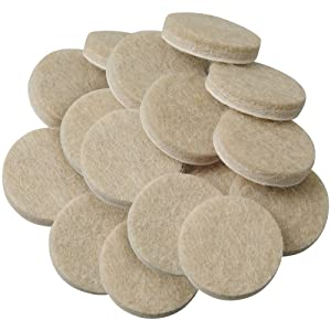 """Self-Stick Furniture Round Felt Pads for Hard Surfaces – Protect your Hard Floors from Furniture Scratches, 1"""" Linen, Round (16 Pieces)"""