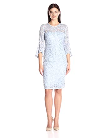 421b8801e2 Amazon.com  Marina Women s Bell Sleeve Lace Cocktail Dress  Clothing