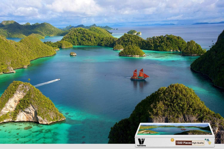 PigBangbang 34.4 X 22.6インチ、バスウッド Lサイズ - 風景 インドネシア 島の自然 - 1500ピース ジグソーパズル