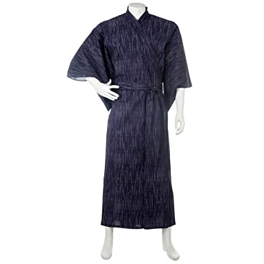 4d88ca32802 Image Unavailable. Image not available for. Color  Kasuri Navy Mens  Traditional Japanese Kimono