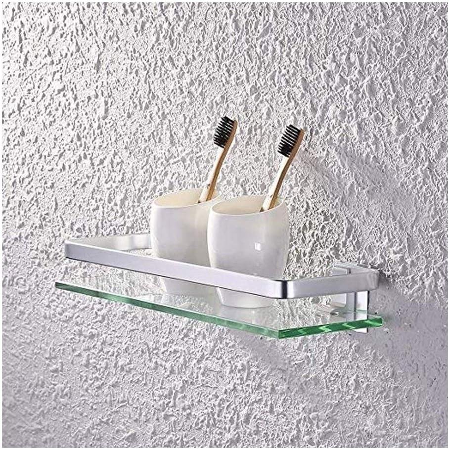 QingH yy Pared Cesta de Ducha Cristal Plataforma de baño con Aluminio Rail Accesorios de baño Rectangular Carrito de la Ducha Cesta Organizador montado en la Pared 35cm YueB 5-26