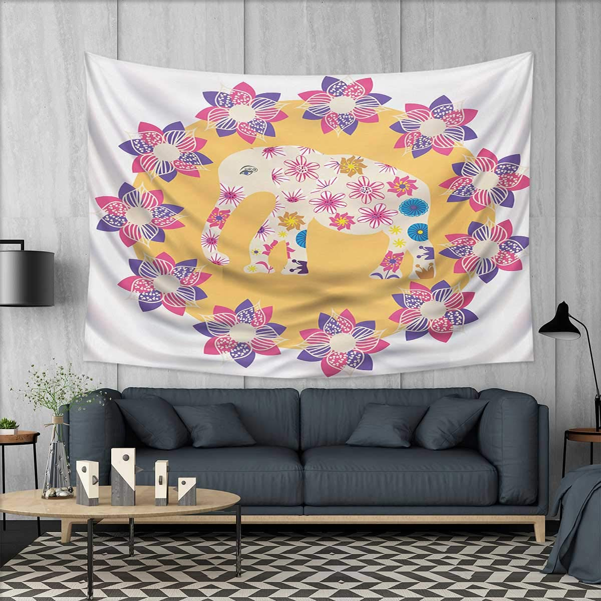 Anhuthree Kids Wall Tapestry Colorful Natural Wildlife Animal with Various Flowers Cartoon Style Thai Baby Elephant Home Decorations for Living Room Bedroom 80''x60'' Multicolor
