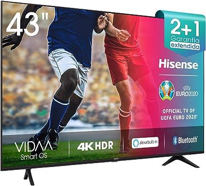 Todo para el streamer: Hisense 43AE7000F UHD TV 2020 - Smart TV Resolución 4K con Alexa integrada, Precision Colour, escalado UHD con IA, Ultra Dimming, audio DTS Studio Sound, Vidaa U 4.0           [Clase de eficiencia energética A]